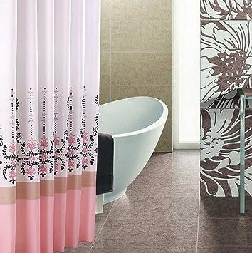 Duschvorhang überlänge duschvorhang 280x200 pink weiss weiß rot schwarz textil waschbar 100
