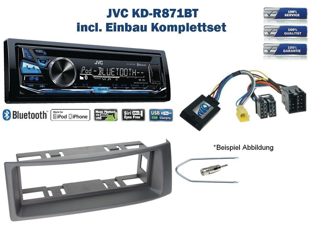 Renault Megane / Scenic Autoradio Einbauset *Grau* inkl. JVC KD-R871BT und Lenkrad Fernbedienung Adapter NIQ RN-06-JV-05-NIQ