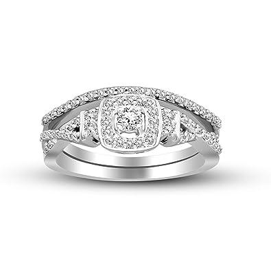 454b0eec99116 Amazon.com: 100% Pure Diamond Ring Luxury 2 Pcs Bridal Set Diamond ...