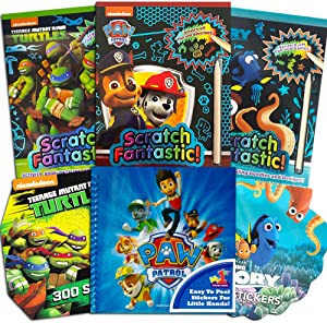 Scratch Books for Kids Paw Patrol Scratch Art Book Set for Kids Toddlers -- 3 Deluxe Reveal Featuring Paw Patrol, TMNT, Finding Dory Nemo with Over 600 Stickers (Travel Activities Pack)
