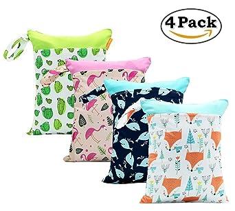4 Pack bebé pañal seco y húmedo Toalla bolsillos impermeable reutilizables con dos bolsillos con cremallera, 11 x 14