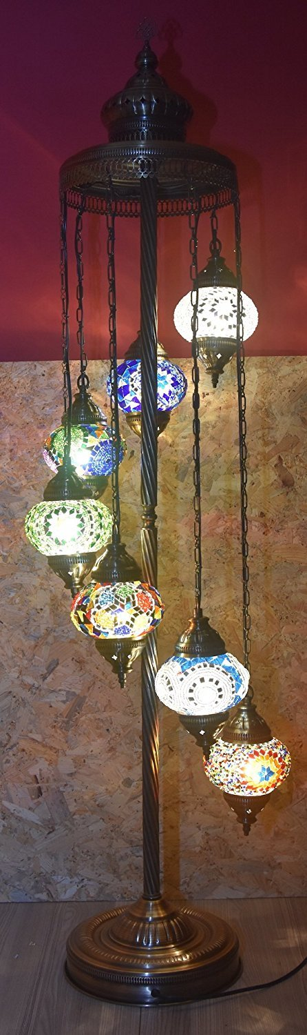 7 Globes Tiffany Floor Lamp Handmade Turkish Mosaic Glass Art Moroccan Lantern with Bulbs, 55'' (140 cm) Height - 4.7'' (12 cm) Diameter, Metal Body On/Off Switch Pendant Arabian Tiffany (Multi Art)