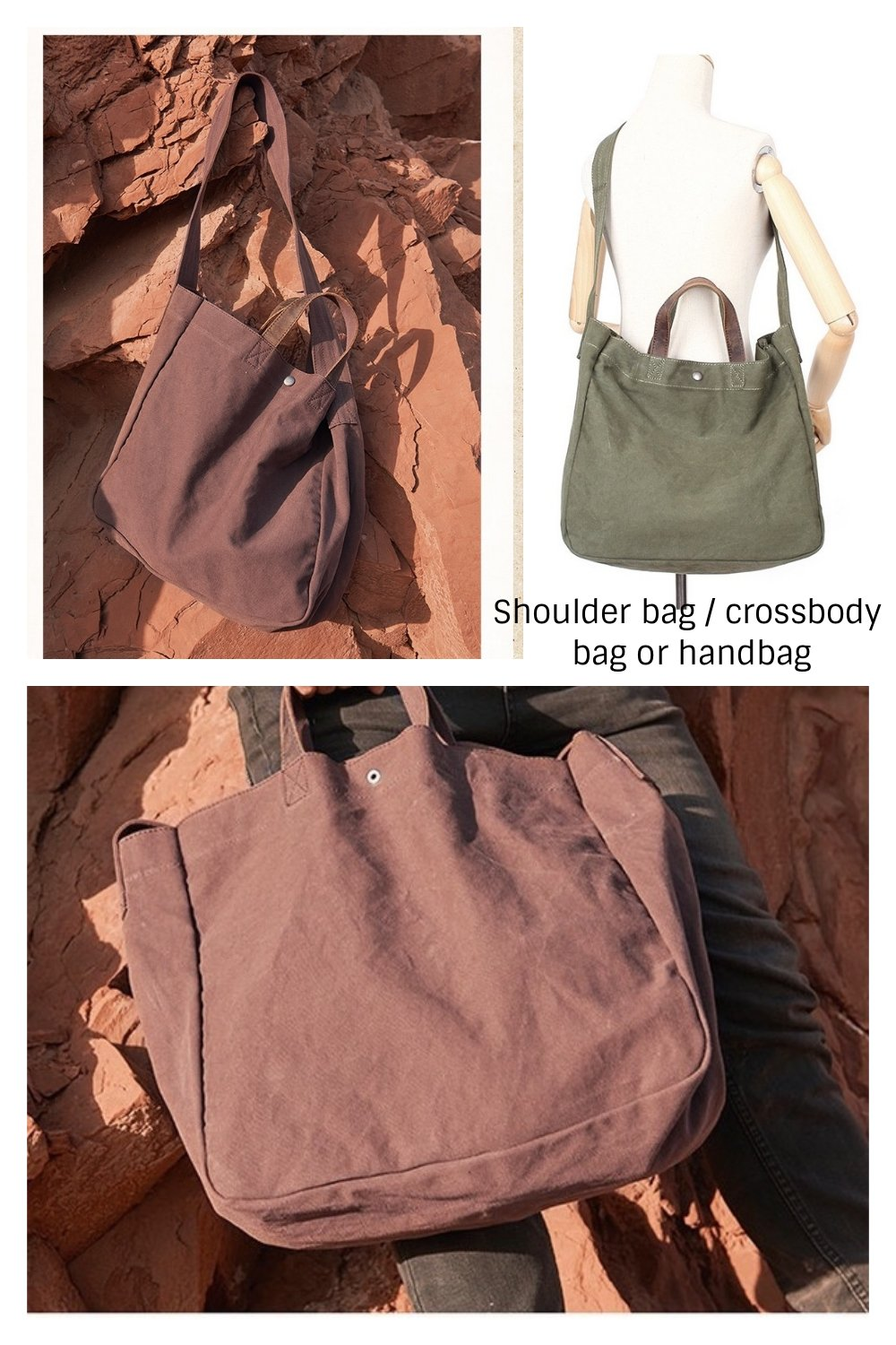 Canvas Tote Bag Shoulder Bag Crossbody Bag Heavy Duty Travel Bag For Men And Women Leather Handle Shoulder Strap (Earth) by Jeelow (Image #5)