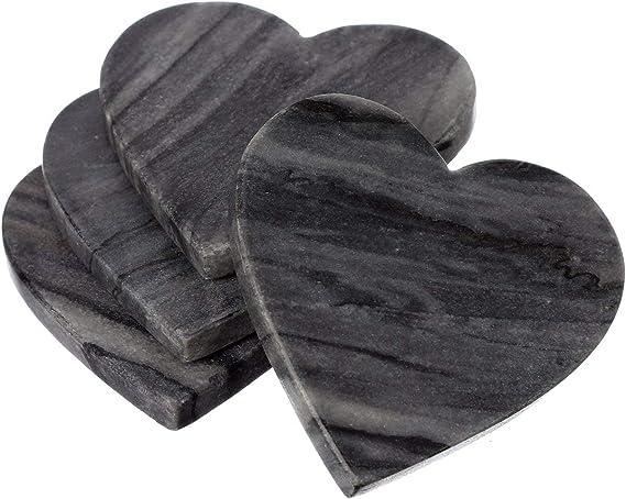 SET OF 6 HEART SHAPED SOFT GREY ONYX COASTERS W// HOLDER GOES W// ANY DECOR # 5751