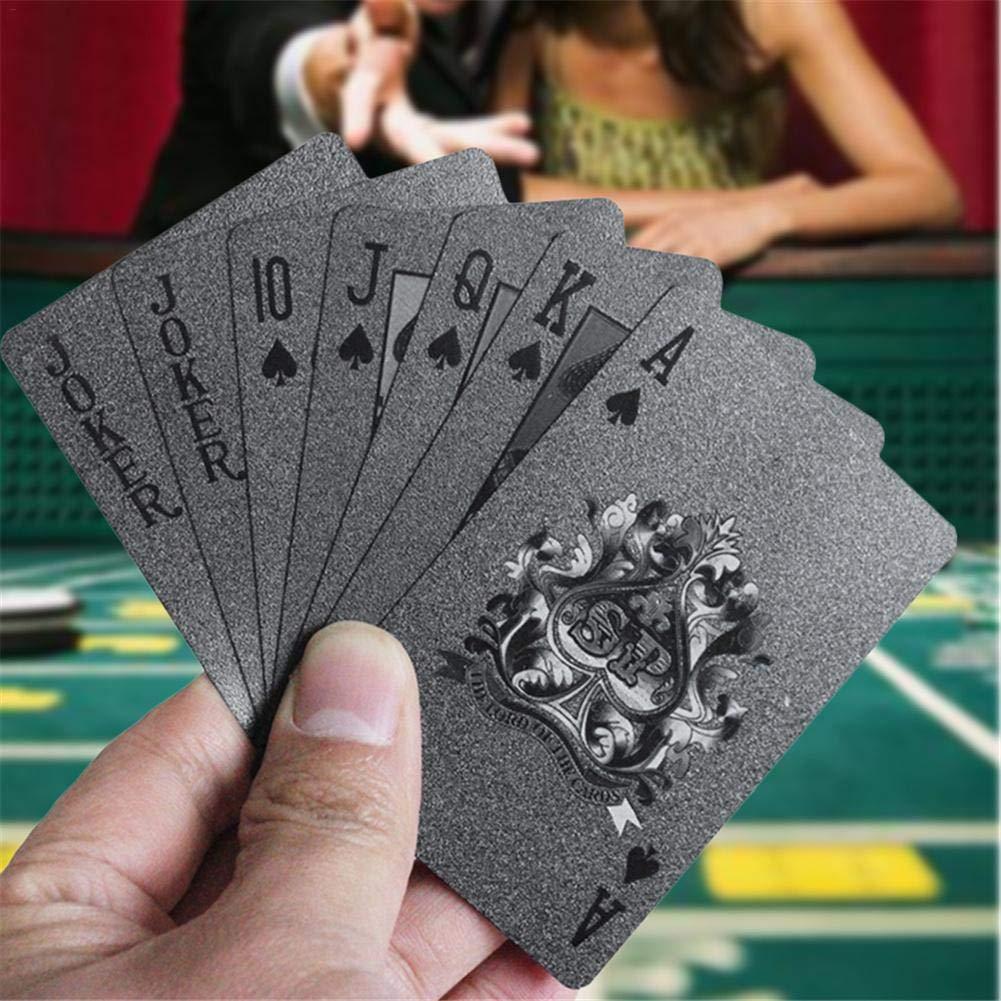 Dreameryoly Cartas de póquer de plástico Mate Negro Cartas ...