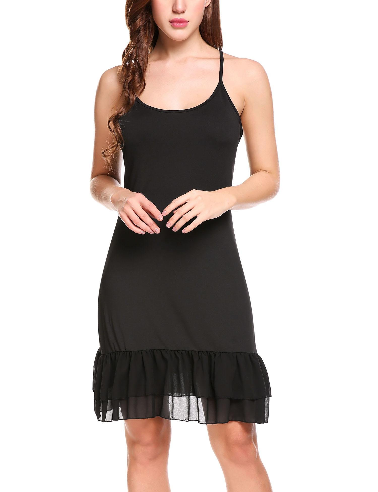 Chiffon Ruffle Camisole Dress Extender for Women Under Adjustable Spaghetti Strap Lace Cami