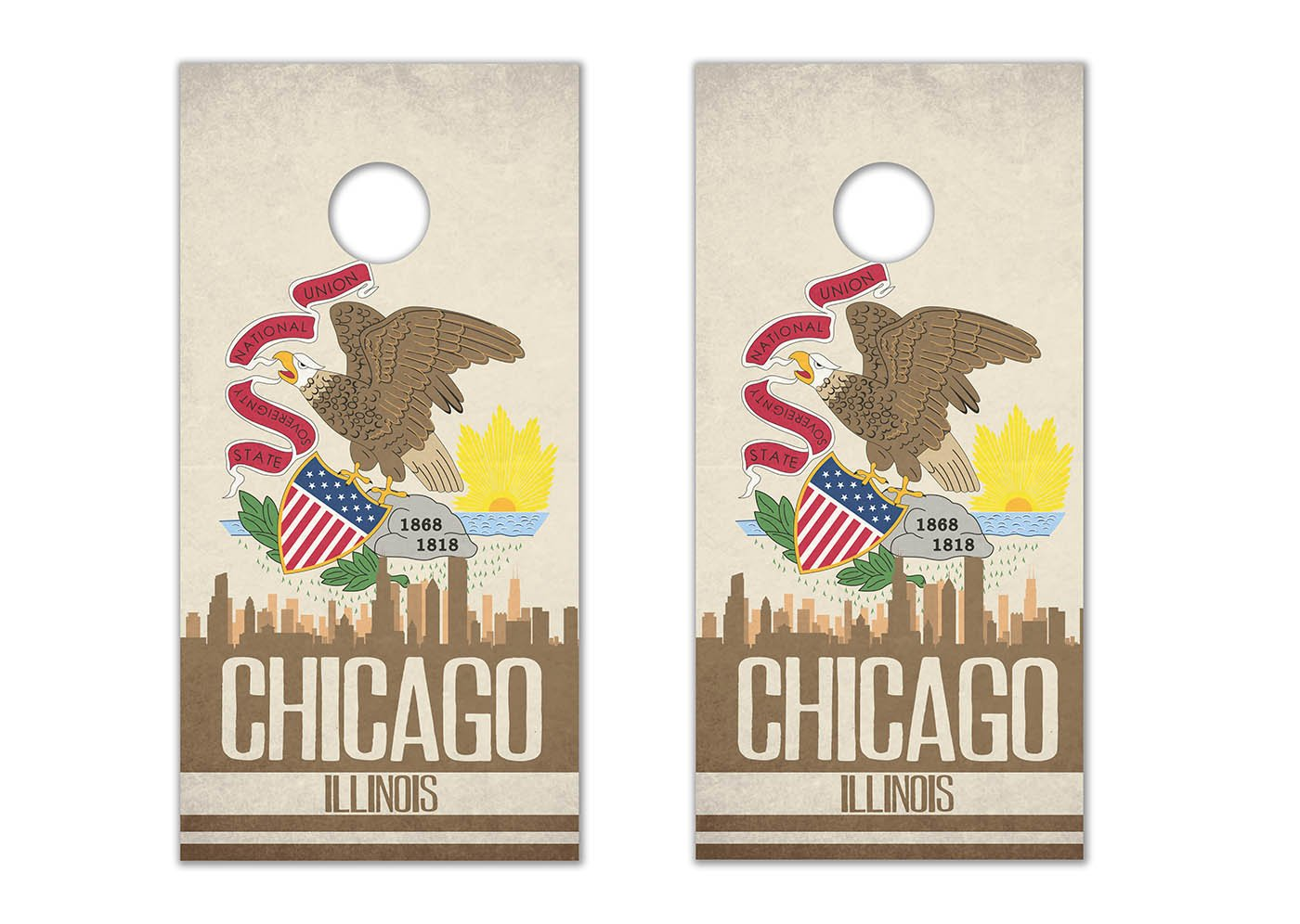 Chicago State Flag Skyline - Cornhole Crew - ACA Regulation Size Cornhole Board Decals