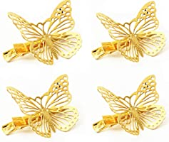 QTMY Pack of 4 Golden Hollow Metal Butterfly Hair Clip Hair Accessories