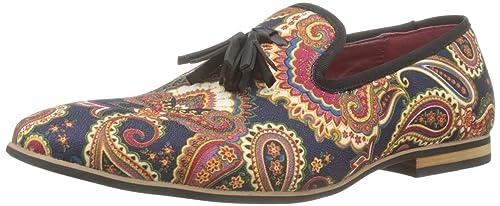 1601cc334d Mens Leather Tassel Loafer Vintage Designer Style Paisley Print Shoes Black  Blue  UK 6 EU