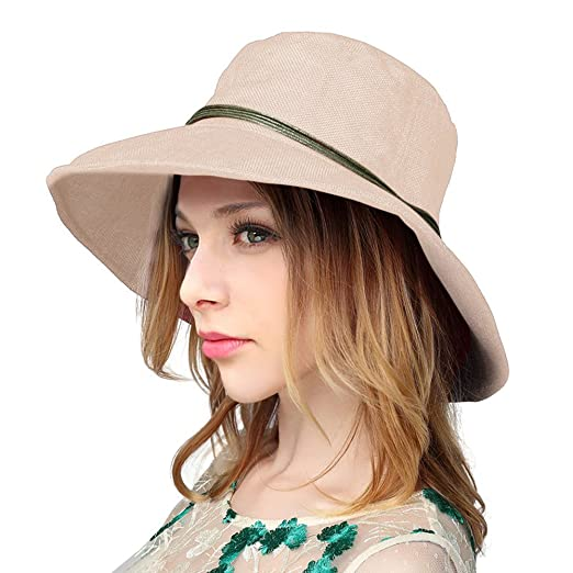 Summer Beach Linen UPF 50+ Sun Hat with Wooden Bead for Women e6ae9b760c2