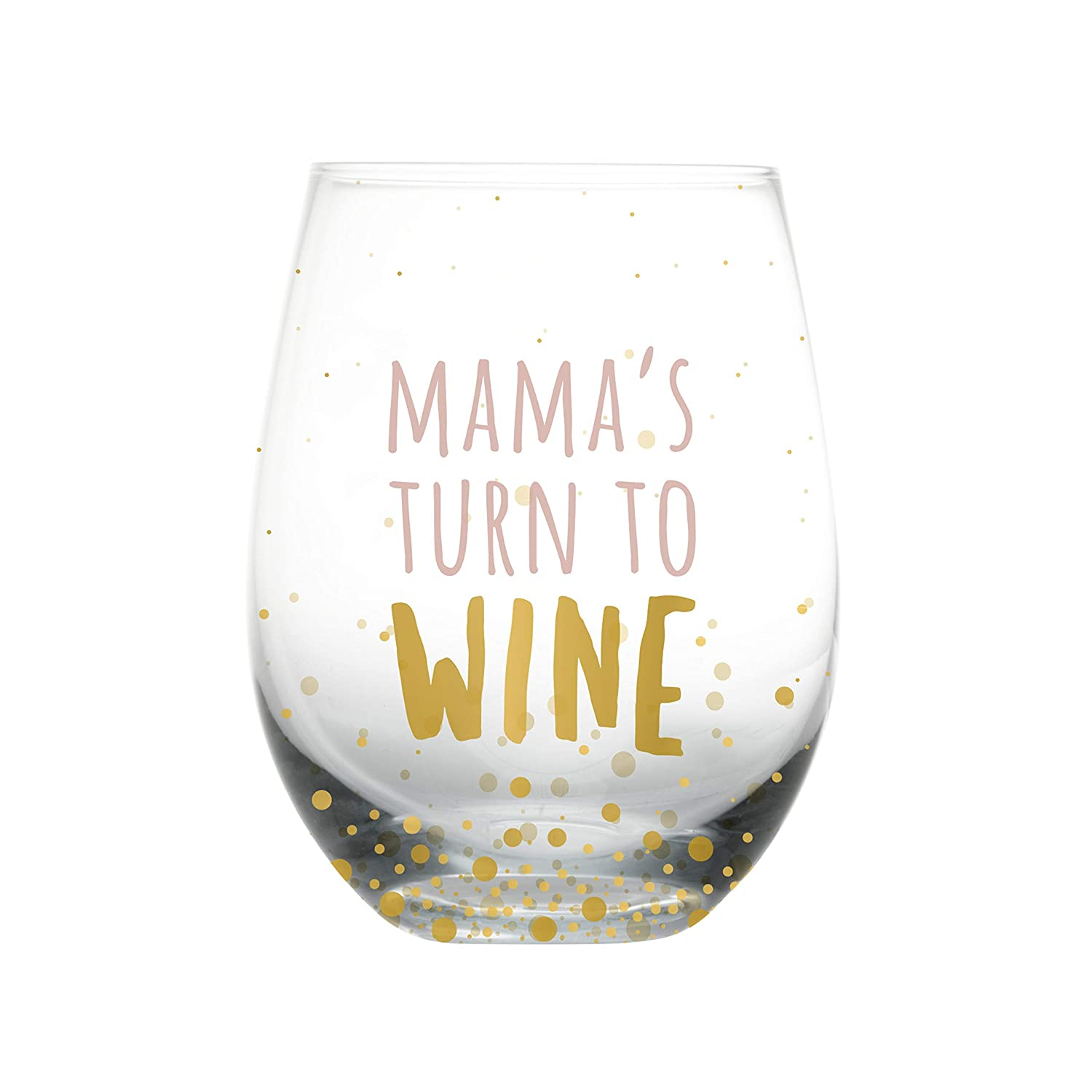 Pearhead Motherhood 'Mama's Turn to Wine' Wine Glass, Humorous Gifts for New Moms, First Mothers Day Gift