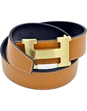 H Style Men Belt Business Casual H Buckle Leather Belt with Pin Hole Maker