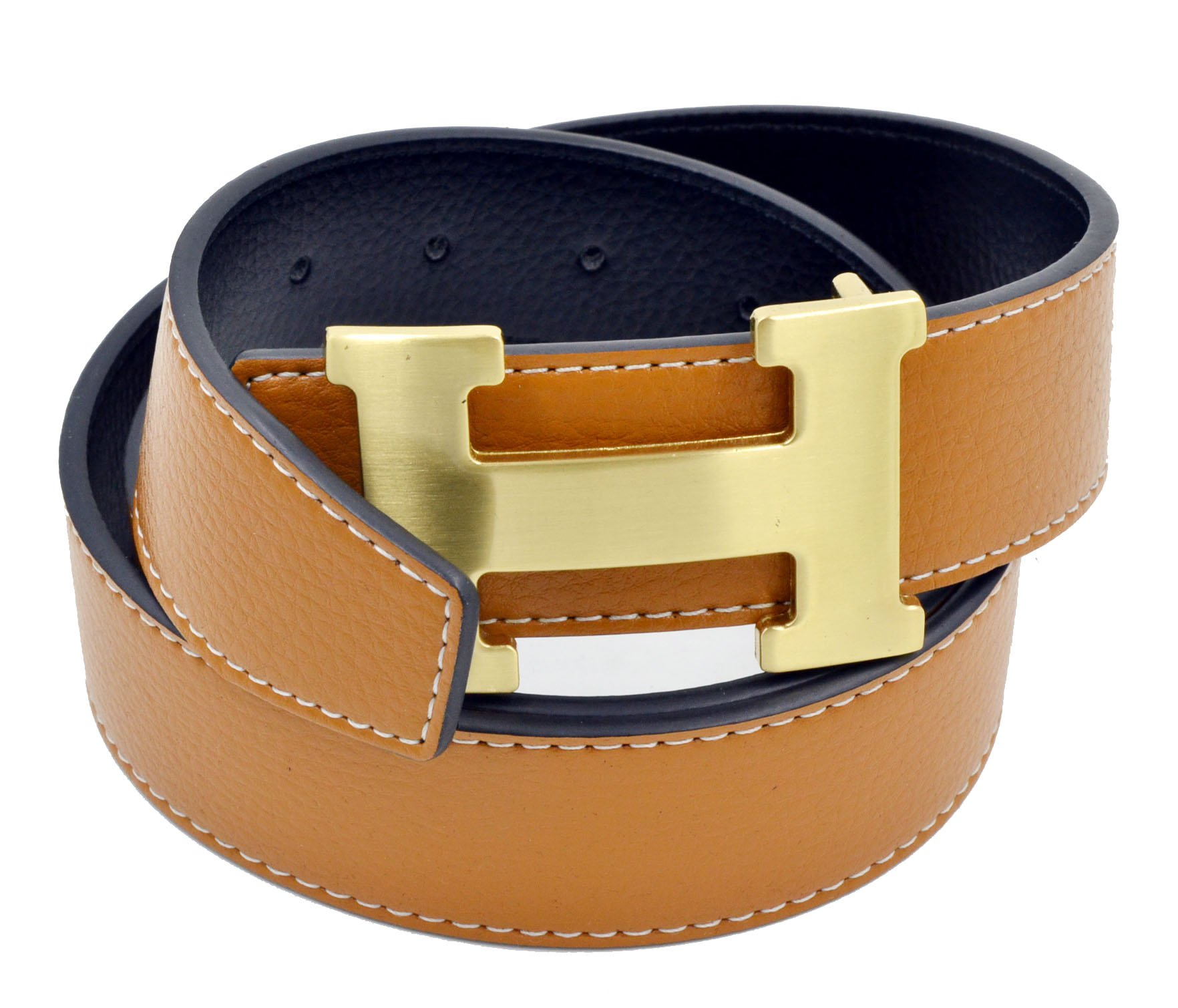 HG-products H-Style unisex Business Casual Belt [3.8CM] (Brown/Gold Buckle, 105CM [Waist < 30''])