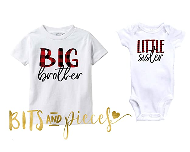 9b220d046 Amazon.com: Sibling Shirts/Big Sister Little Sister Big Brother Little  Brother Middle | Pregnancy Announcement | Buffalo Check | Plaid | Cousins:  Handmade