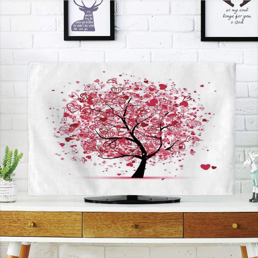 MIGAGA 液晶テレビ プレミアムカバー マルチスタイル ツリーオブライフ 庭のマジェスティックな木 ブランコ ノスタルジックでドラマチックな冬の風景装飾 タンブルーグレー カスタマイズ可 55インチテレビ TV 37