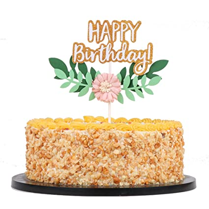 Amazon QIYNAO Flowers And Green Leaves Happy Birthday Cake