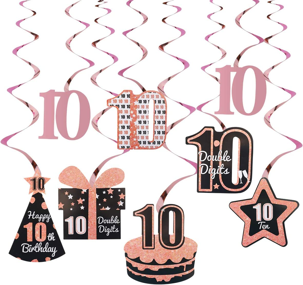 Excelloon 10th Birthday Decorations Supplies for Girls, Rose Gold 8Pcs Hanging Swirls, Happy 10 Year Old Birthday Cake Hat Present Star Party Decor, Ten Year Old Birthday Decorations