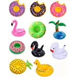 12 Pack Inflatable Drink Holder Float,Fruit Donuts Flamingo Swan Plam Duck Inflatable Pool Cup Holders Coasters for Pool Part