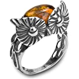 Amber Sterling Silver Mask Ring
