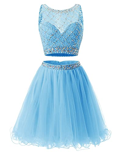 Bridesmay Short Tulle Homecoming Dress Beaded Two Piece Cocktail Dress