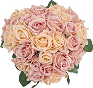 Huryfox 27 PCS of Artificial Flowers Silk Rose Flower for Home Decor Indoor Aesthetic, Faux Greenery Décor Fake Plants for Desk and Shelf Bedroom for Farmhouse/Christmas/Wedding Bouquets
