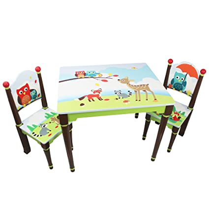 Fantasy Fields - Enchanted Woodland Thematic Hand Crafted Kids Wooden Table and 2 Chairs Set |  sc 1 st  Amazon.com & Amazon.com: Fantasy Fields - Enchanted Woodland Thematic Hand ...