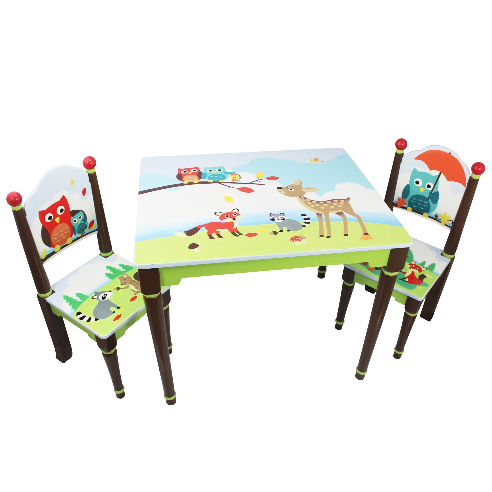 Fantasy Fields - Enchanted Woodland Thematic Hand Crafted Kids Wooden Table and 2 Chairs Set |Imagination Inspiring Hand Crafted & Hand Painted Details | Non-Toxic, Lead Free Water-based Paint