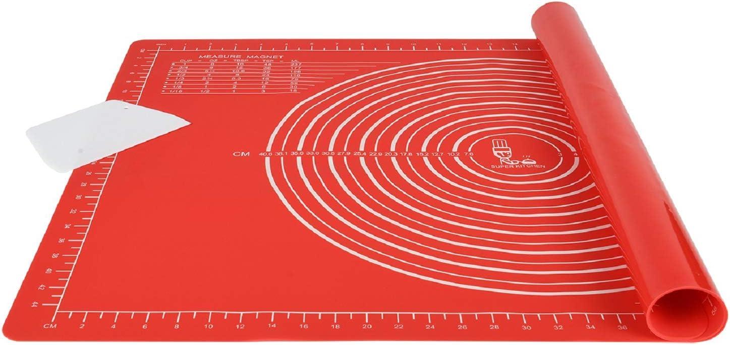 Grau Epoxidharz Resin Matte SUPER KITCHEN rutschfeste Backunterlage Antihafte Backmatte Silikon Gro/ß 71 x 51cm Teigunterlage Ausrollmatte XL Silikonmatte Fondant Pizza Teigmatte mit Teigschneider