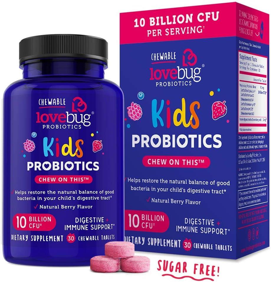 LoveBug Probiotics for Kids Immune Support, 10 Billion CFU & 6 Strains, 30 Natural Berry Flavored Chewable Tablets, Probiotic Supplement for Digestive & Immune Health, Allergen Friendly.