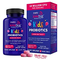 LoveBug Probiotics for Kids Immune Support, 10 Billion CFU & 6 Strains, 30 Natural Berry Flavored Chewable Tablets, Probiotic Supplement for Digestive & Immune Health, Allergen Friendly.