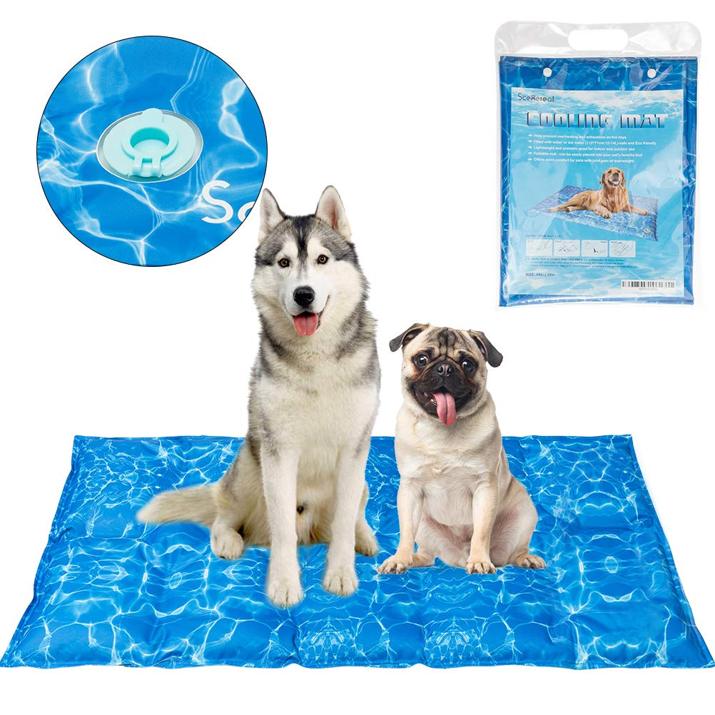 SCENEREAL Dog Cooling Mat Cool Dog Bed - Ice Water Pad for Dogs Cats Pets Summer Hot Days Sleeping Self Cooling Bed, X-Large