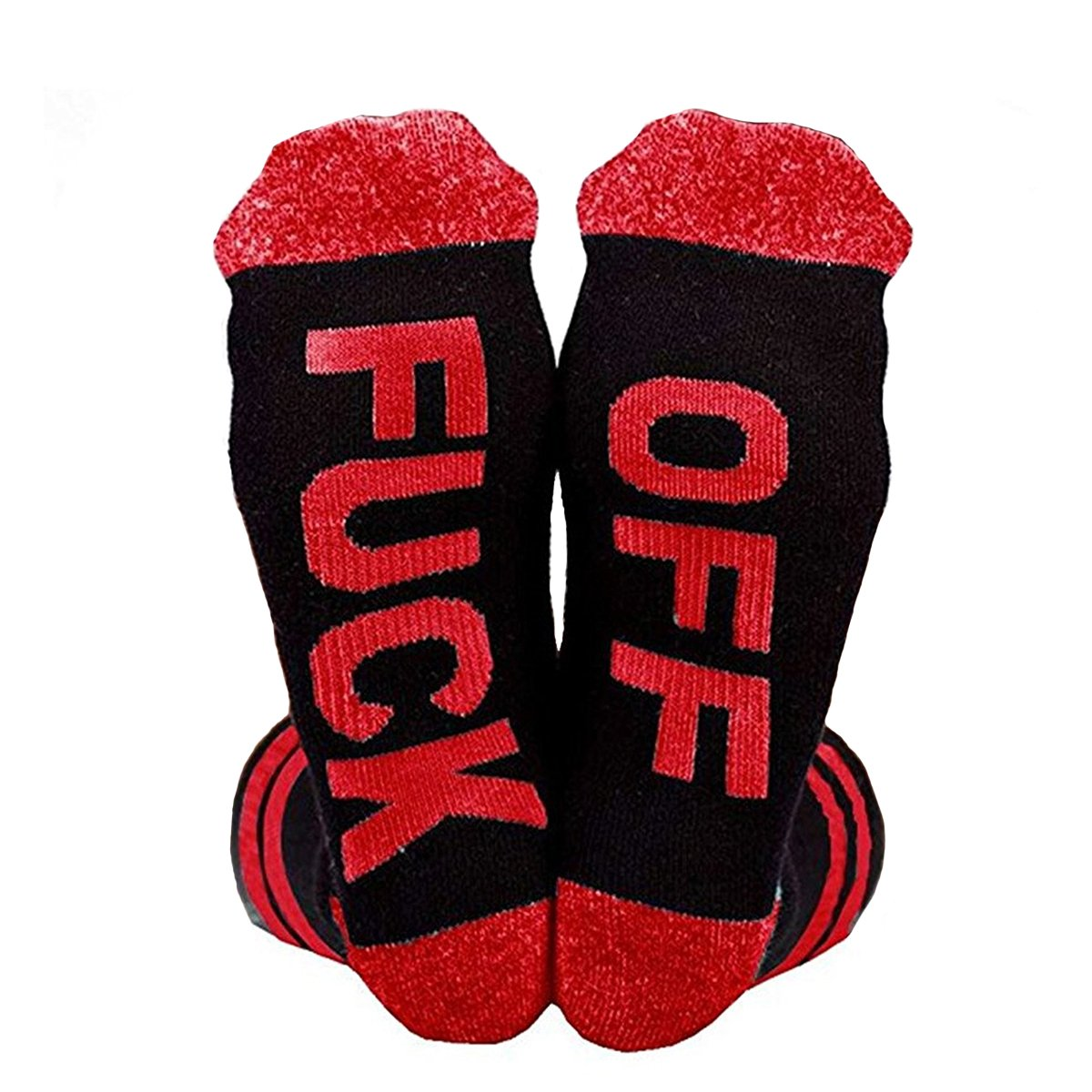 Himozoo Unisex Cotton Funny FUCK OFF Ribbed Knit Half Crew Socks