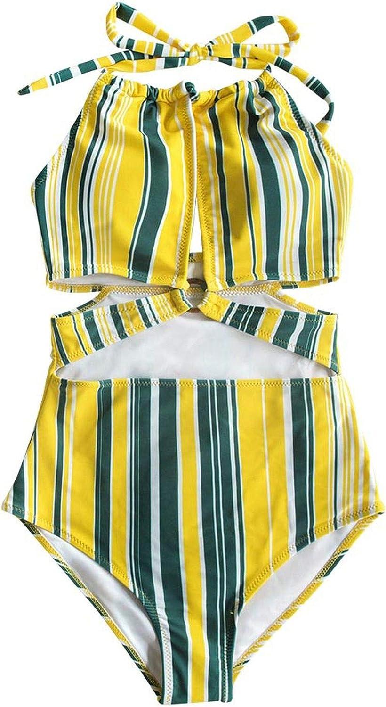 Traje de baño de una Pieza con Estampado de Rayas Amarillas y Grises y Blancas, Monokini para Mujer