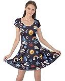 CowCow Womens Space Rocket Spaceman Planet Sun Moon Short Sleeve Dress, XS-5XL