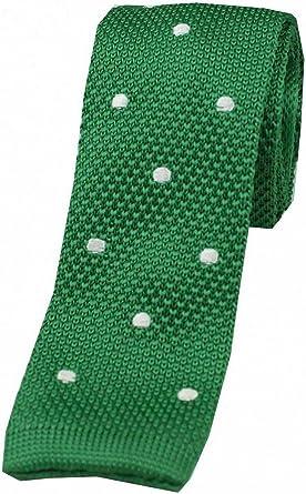 KJ Beckett Spotted Silk Knitted Tie Green//Blue