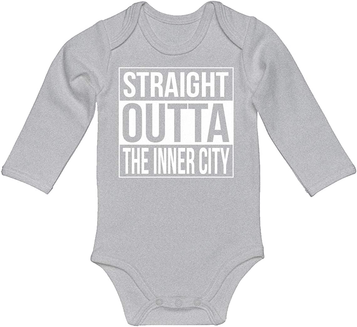Indica Plateau Baby Onesie Straight Outta The Inner City 100/% Cotton Long Sleeve Infant Bodysuit