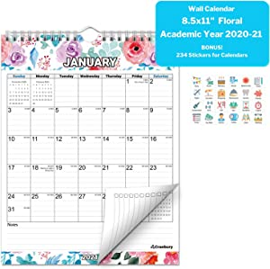 CRANBURY Small Wall Calendar 2021 - (Floral), Hanging Monthly Vertical Wall Calendar, 8.5x11 Inches, Use Now to December 2021, Calendar Year 2021, Planner Stickers Included