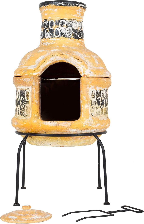 Gelb//Braun klein La Hacienda Circles Ton-Kamin mit Grillrost