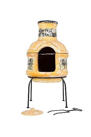 La Hacienda Circles - Chimenea de Arcilla con Parrilla de Cocina, 2 Piezas, Color Amarillo y marrón