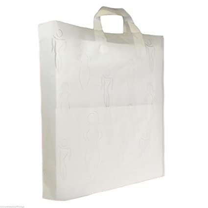 100X New Plastic Carrier Bags Heavy Duty Silhouettes See Through Luxury Bags