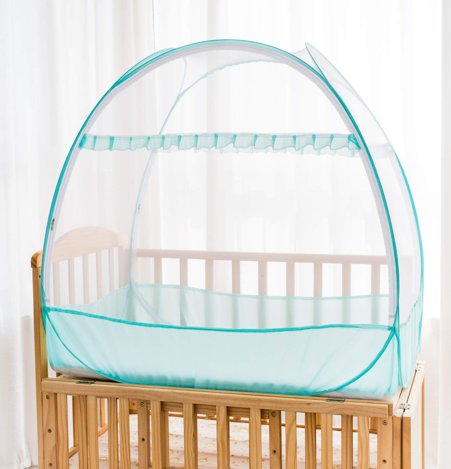 Baby Crib Pop up Tent, V-Fyee Baby Bed Mosquito Net Safety Tent Canopy Cover to Keep Toddler from Climbing Out and Keep Insects Out (Cyan, 47''L x 26''W x 39''H)