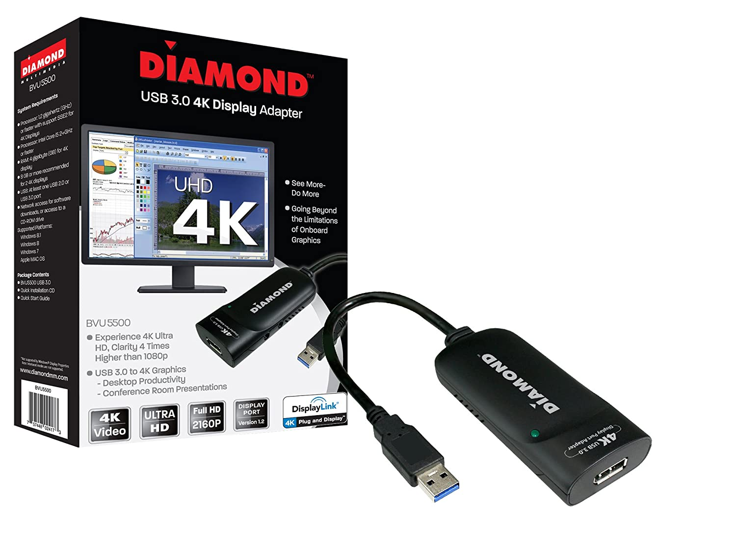Diamond USB 3.0 to DisplayPort 4K UHD (Ultra-High-Definition) Video Graphics Adapter for Multiple Monitors up to 3840x2160 (DisplayLink DL-5500 Chipset - Supports Windows 10, 8.1, 8, 7) BVU5500