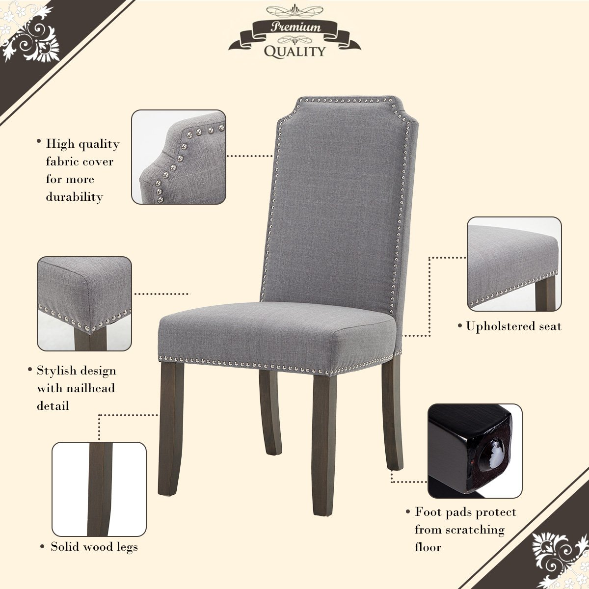 Amazon.com   Merax Set Of 2 Stylish Upholstered Fabric Dining Chairs With  Nailhead Detail And Solid Rubber Wood Legs (Grey)   Chairs