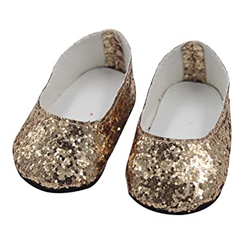 ef13edc53025 Image Unavailable. Image not available for. Color: Glitter Dress Shoes for  18 inch American Girl Doll by Coerni (Gold)