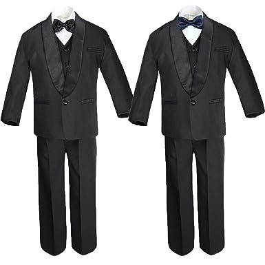 Amazon.com: 6pc Boy negro formal satén chal solapa trajes ...