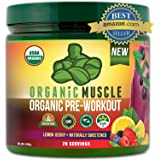 Organic Muscle #1 Rated Organic Pre Workout Powder-Natural Vegan Keto Pre-Workout & Organic Energy Supplement for Men & Women