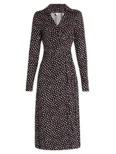 Diane von Furstenberg CYBIL Midi Length Wrap Silk Dress in Pirouette Dot Navy