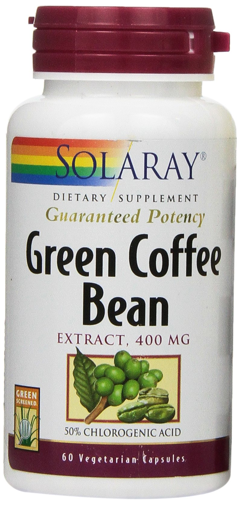 Solaray Green Coffee Bean Extract Capsules, 400mg, 60 Count