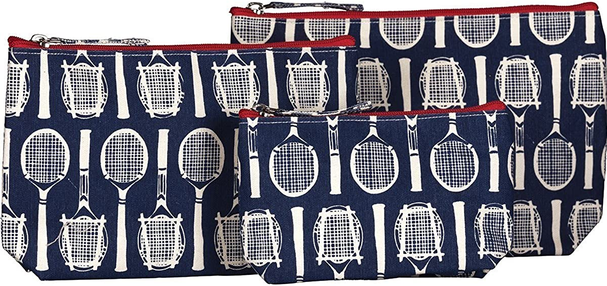 rockflowerpaper Wimbledon Tennis Navy Canvas Cosmetic, Makeup, and Travel Bags - Set of 3