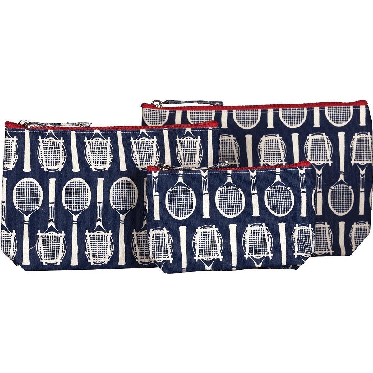 Rockflowerpaper Wimbledon Tennis Navy Canvas Cosmetic Makeup And Travel Bags Set Of 3